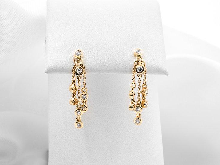14K Yellow Gold Diamond Bezel Dangle Earrings