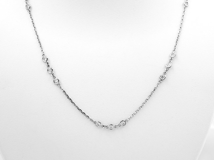 14K White Gold .90cttw Diamond Station Necklace