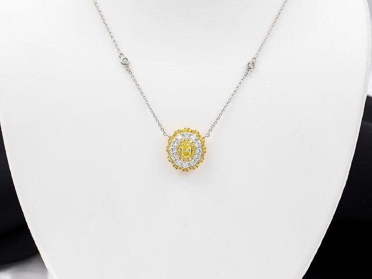 18K White and Yellow Gold 1.31cttw Diamond Pendant