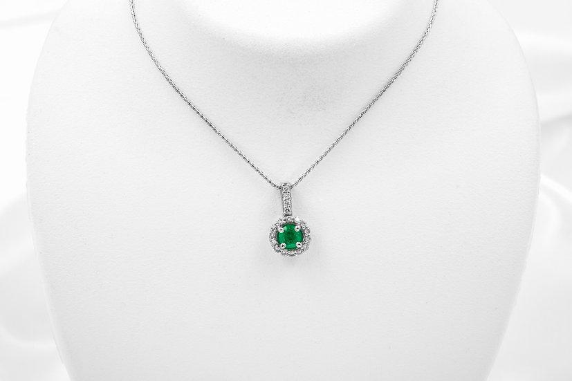 14K White Gold Emerald Diamond Pendant