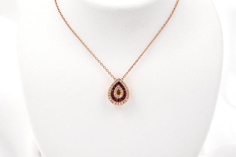 14K Rose Gold Ruby Diamond Necklace