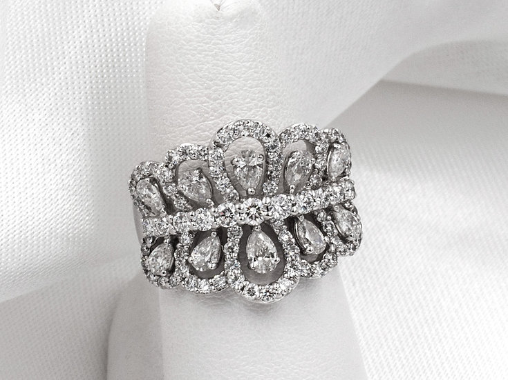 18K White Gold 2.21cttw Pear Shaped and Round Diamond Band