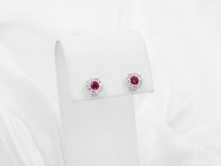 14K Diamond Ruby Earrings