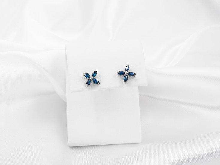 14K Marquise Sapphire Flower Earrings