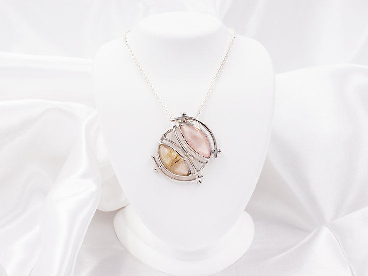 Moda tungsten and pink circle pendant