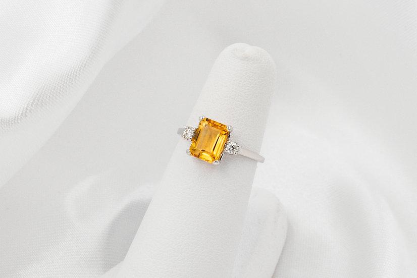 10K White Gold EC Citrine and Diamond Ring