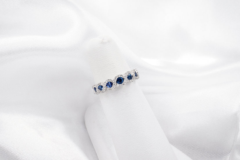 14K White Gold Sapphire and Diamond Infinity Band