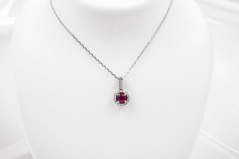 14K Ruby Diamond Pendant