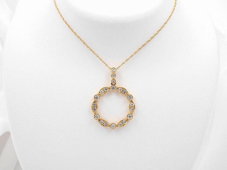 14K Yellow Gold .51cttw Diamond Pendant