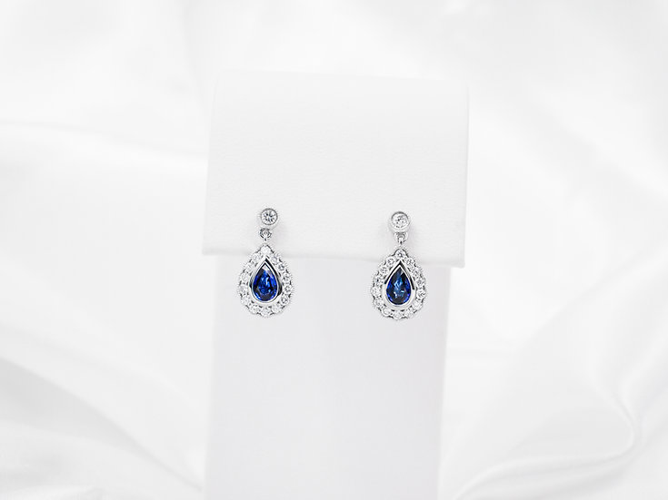18K White Gold Pear Shaped Sapphire Earrings