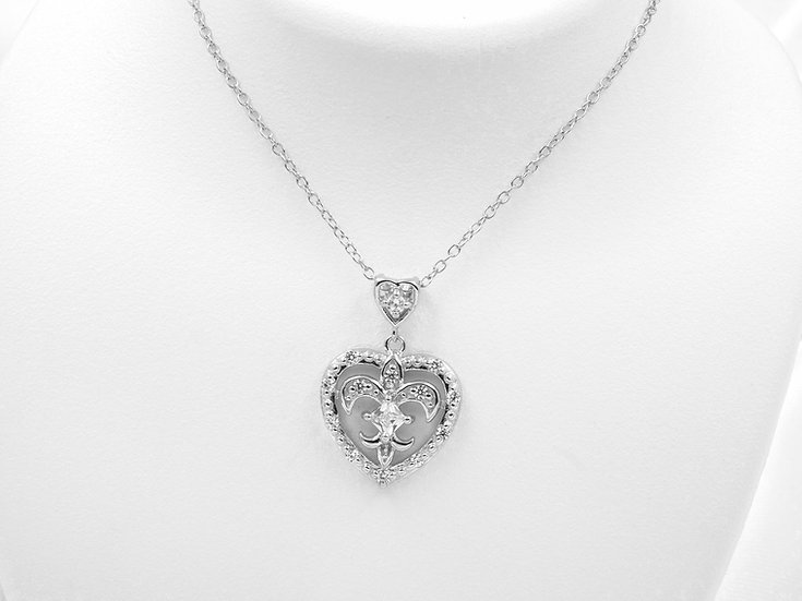 "Sterling Silver 18"" Cubic Zirconia Fluer De Lis Heart Pendant"