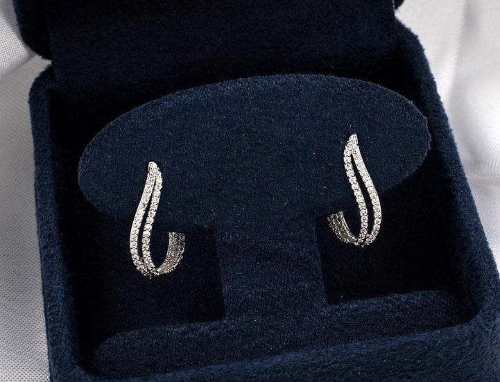 14K White Gold .13cttw Diamond Flame Earrings