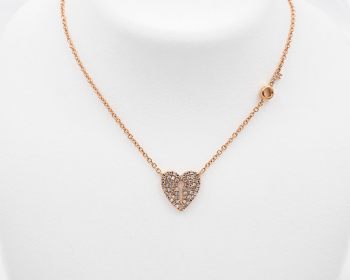 14K Rose Gold Diamond Heart and Key Necklace