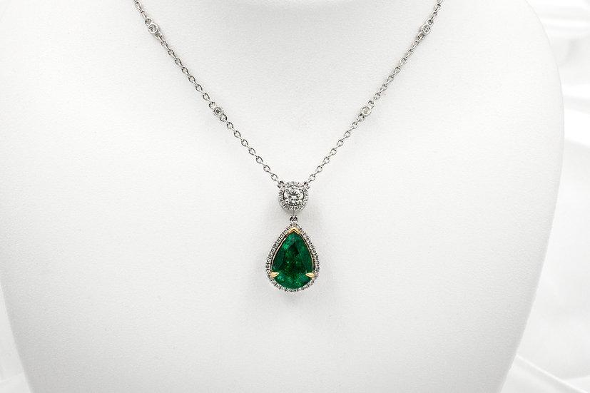 18K White Gold PS Emerald Diamond Necklace