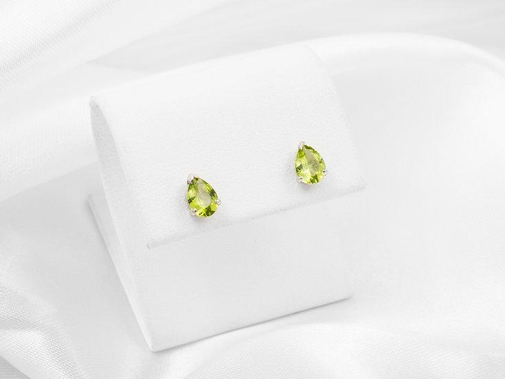 14K Pear Shaped Peridot Stud Earrings