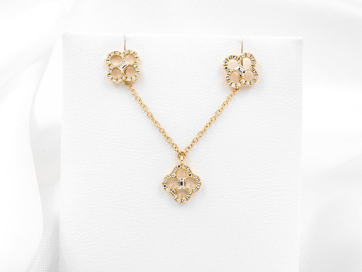14K Yellow Gold Diamond Clover Shape Earrings and Necklace