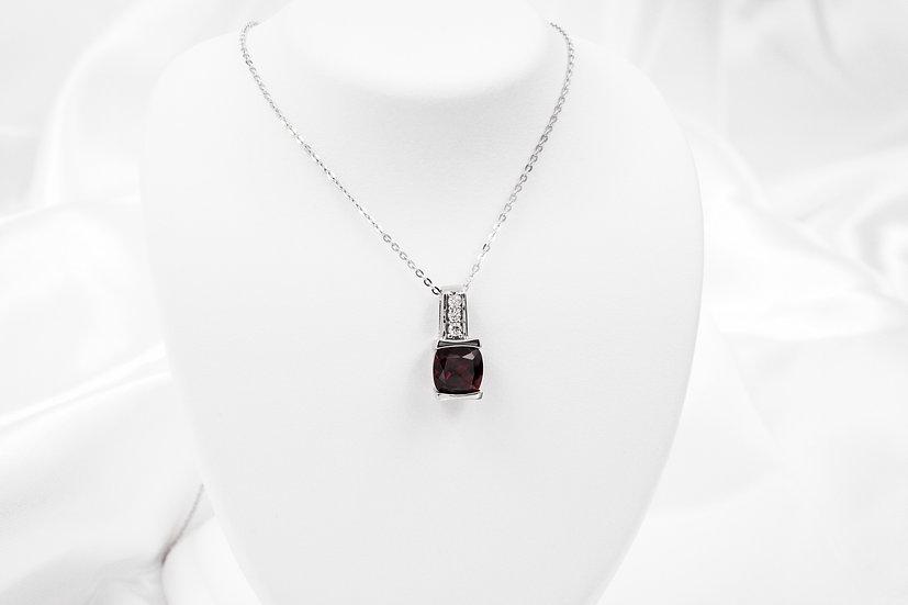10K White Gold CC Garnet Diamond Pendant