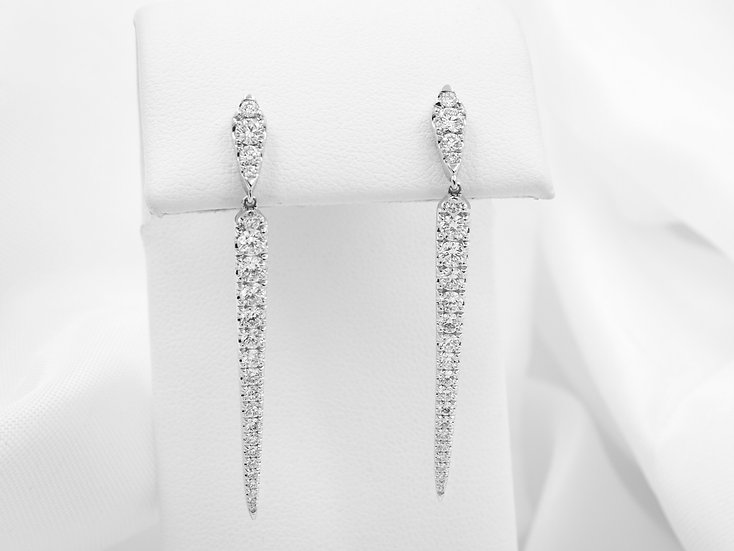 14K White Gold 1.46cttw Round Diamond Bar Earrings