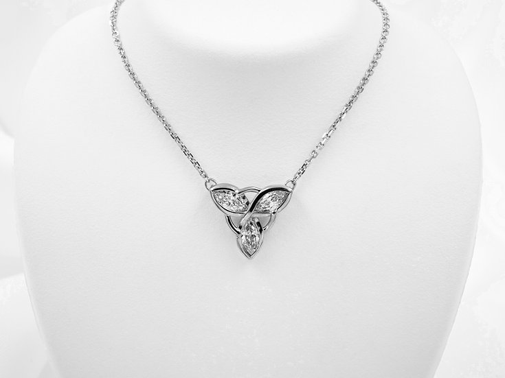 14K White Gold 1cttw Marquise Diamond Necklace
