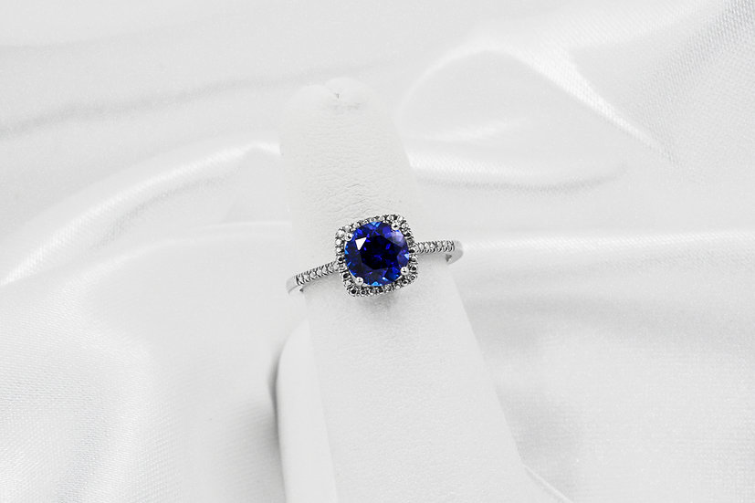 Sterling Silver Created Sapphire Diamond Halo Ring