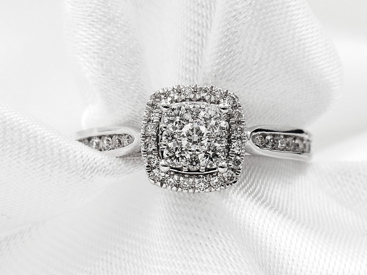 14K White Gold 1/2cttw Halo Cluster Channel Engagement Ring