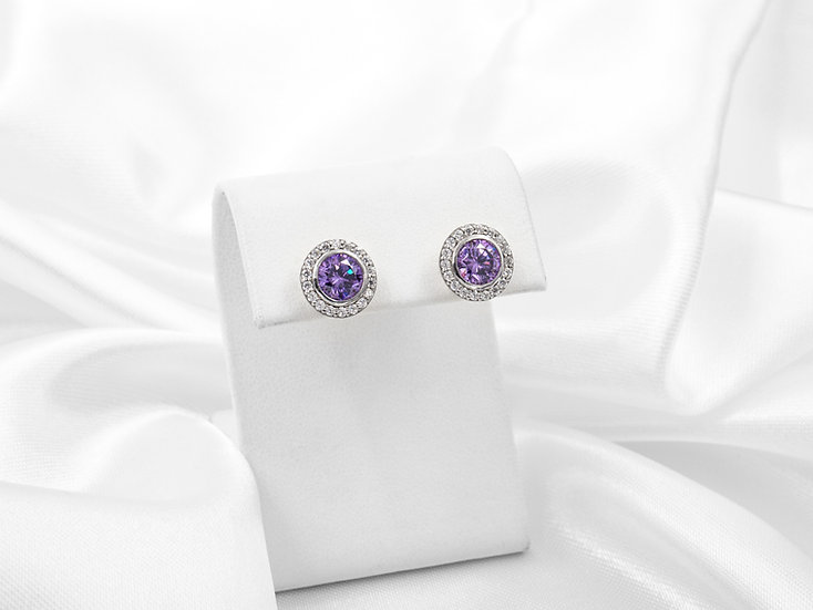 14K Round Amethyst Diamond Halo Earring