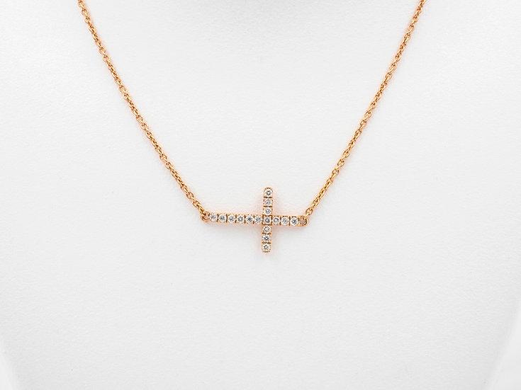 14K Rose Gold .12cttw Diamond Cross