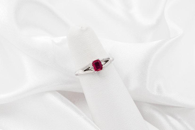 14K White Gold EC Ruby Diamond Ring