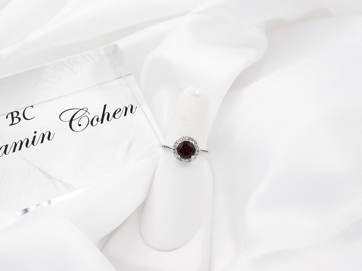 Benjamin Cohen Sterling Silver Round Garnet and White Topaz Halo Ring