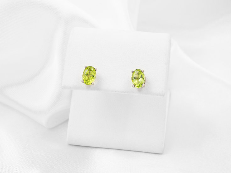 Sterling Silver Oval Peridot Earrings