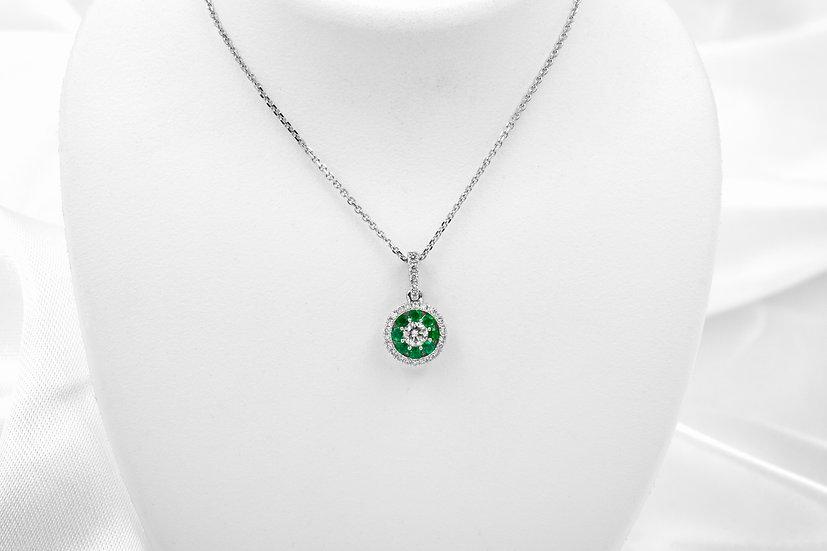 14K White Gold Diamond Emerald Pendant