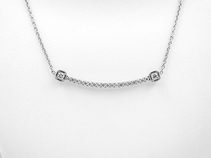 14K White Gold .27cttw Diamond Bar Necklace
