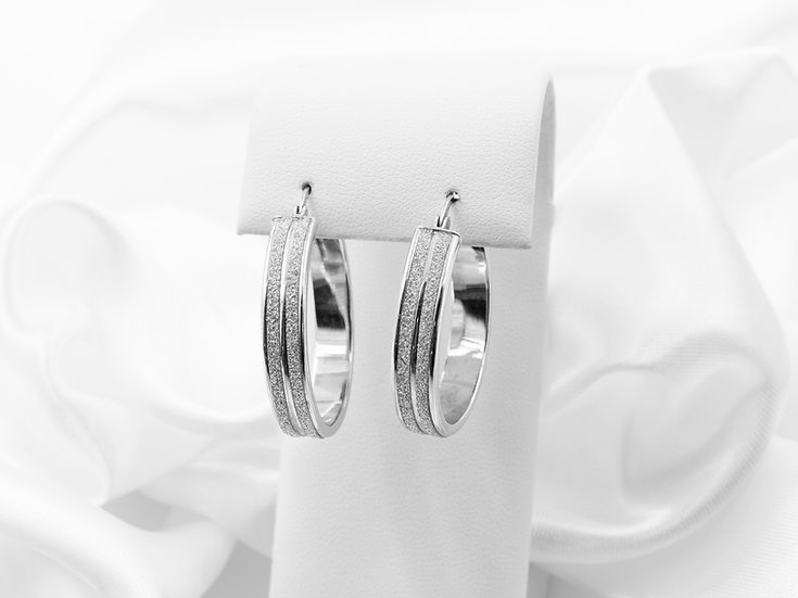 Sterling Silver Large Glitter Hoop Earrings