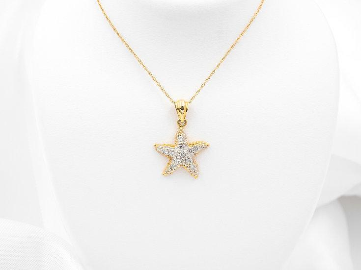 14K Yellow Gold Diamond Starfish