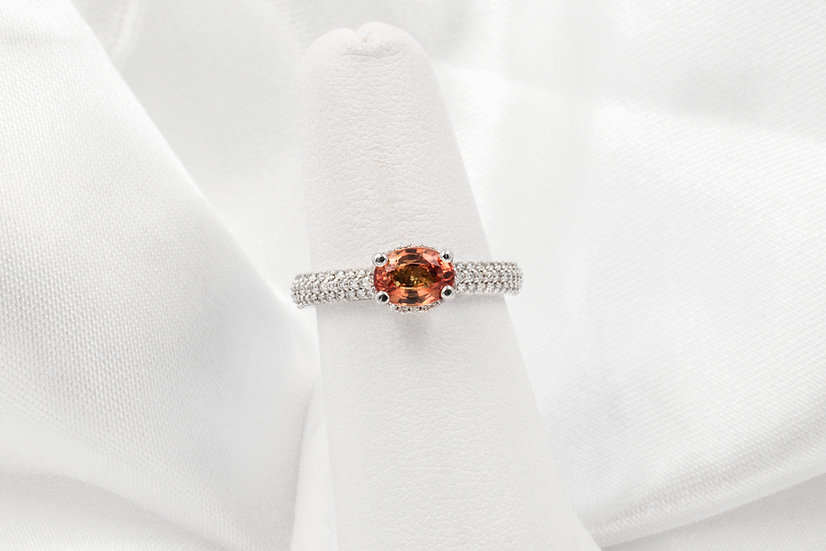 14K White Gold Orange Sapphire Diamond Ring