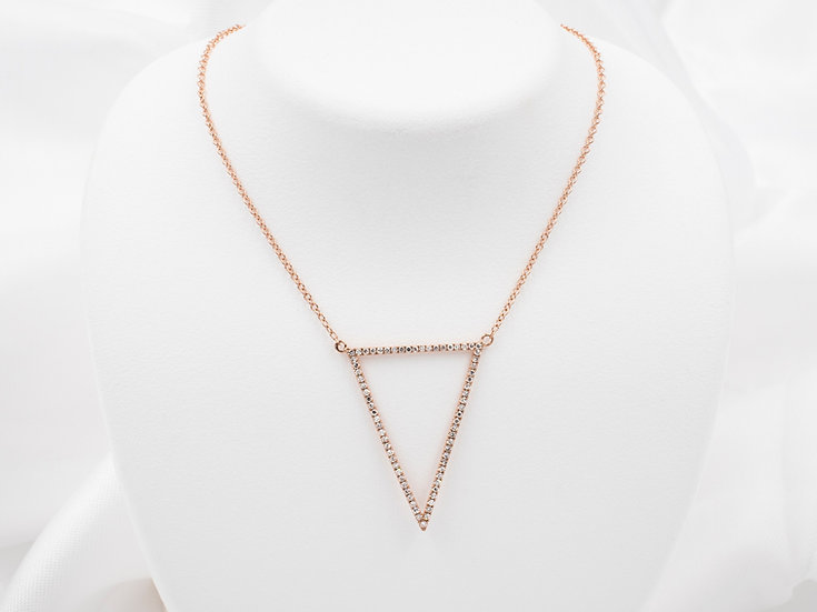 14K Rose Gold .21cttw Diamond Triangle Necklace