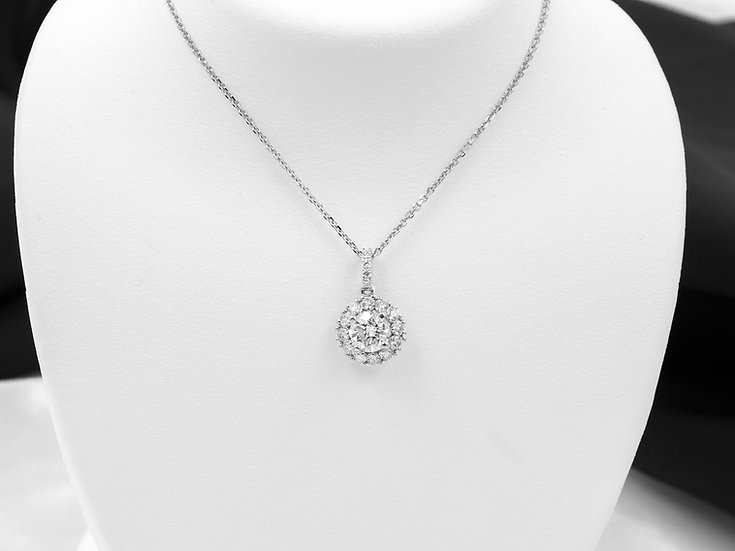 18K White Gold 1.05cttw Diamond Halo Pendant