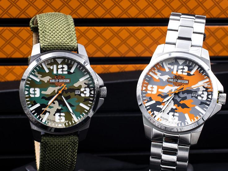 Harley Davidson Camouflage Print Watches