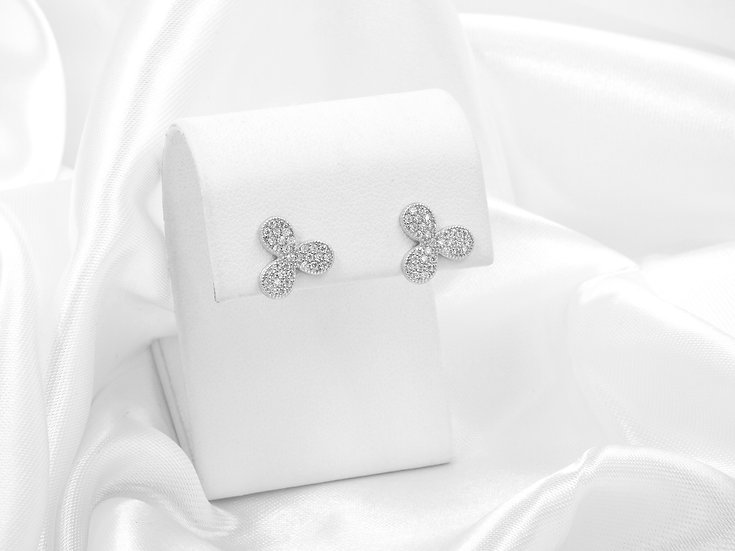 diamond mini 3 clover silver earrings