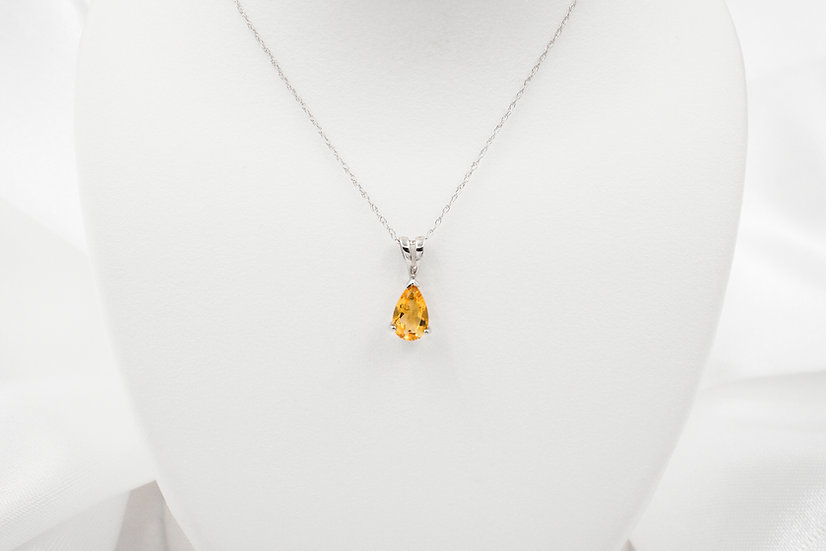 "14K White Gold 18"" Pear Shaped Citrine Pendant"