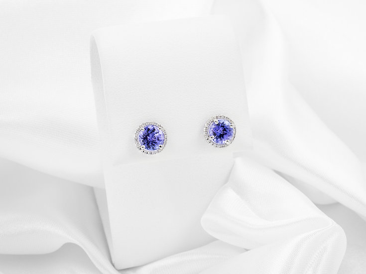 14K 2.50cttw Round Tanzanite Earrings