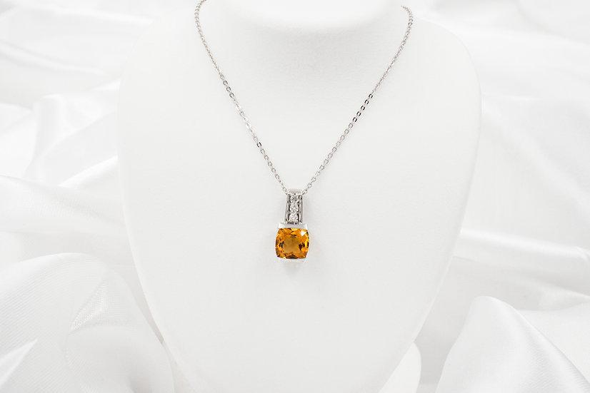 "10K 18"" White Gold Antique Cushion Cut Citrine .12cttw Diamond Pendant"