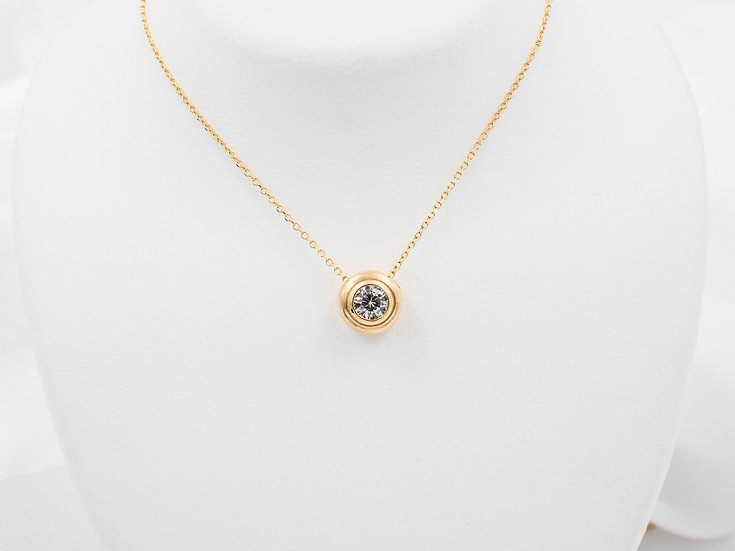 14K Yellow Gold .32ct Round Diamond Pendant