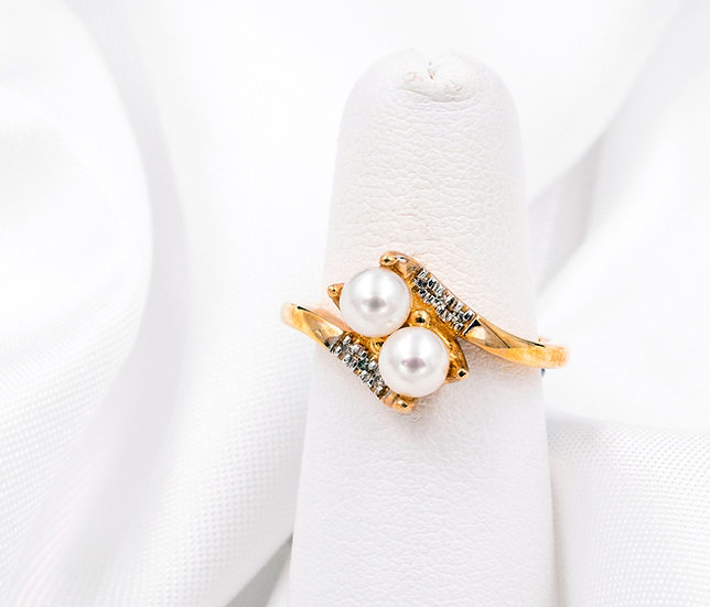 10K Yellow Gold 5mm Pearl with .03cttw Diamonds