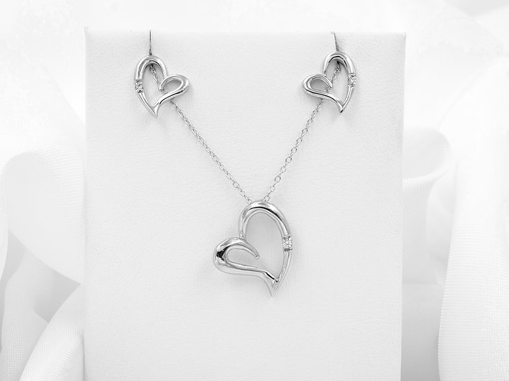 "Sterling Silver 18"" Cubic Zirconia Heart Pendant and Earrings"