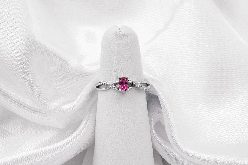 10K White Gold Pink Tourmaline Diamond Ring