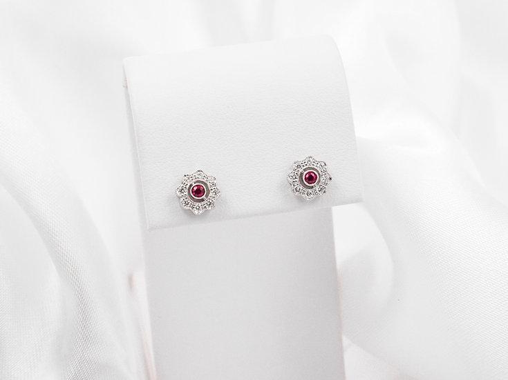 14K .14cttw Ruby Earrings