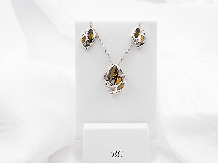 Sterling Silver Citrine and Smokey Quartz Pendant and Earrings