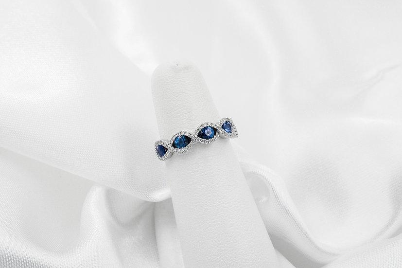 14k White Gold Sapphire Diamond Infinity Band