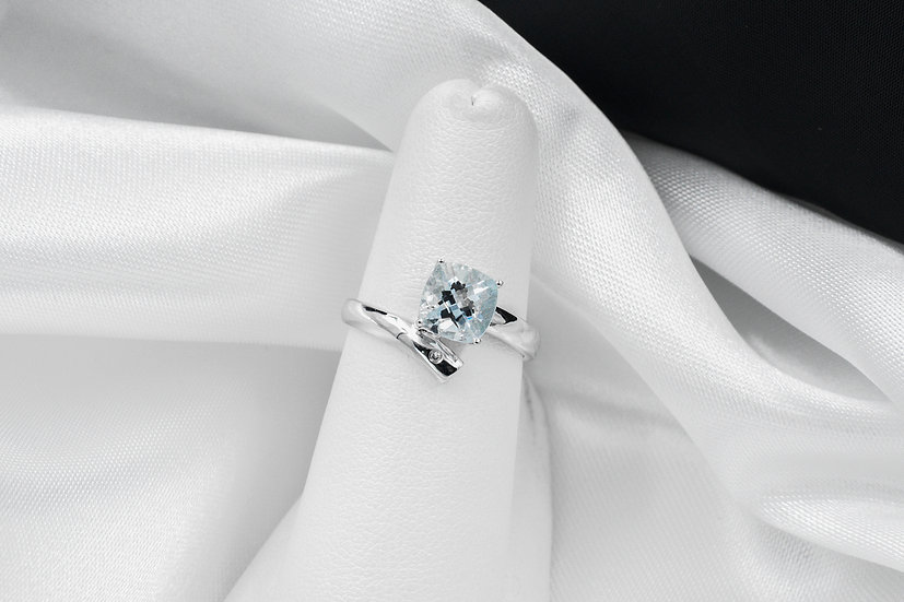 14K White Gold Cushion Cut Aqua Diamond Ring